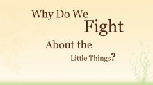 Video Why Do We Fight About the Little Things