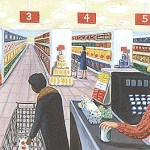 """""""Checkout,"""" © 1986, oil on canvas, 24x30 inches. Collection of Thomas Humphrey, Jr., Midlothian, VA"""