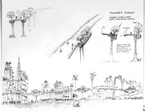 Richard Register's sketch of an elevated bikeway