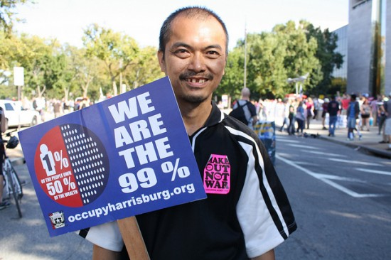 "Protester with ""We are the 99%"" sign"