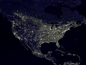 US electricity at night