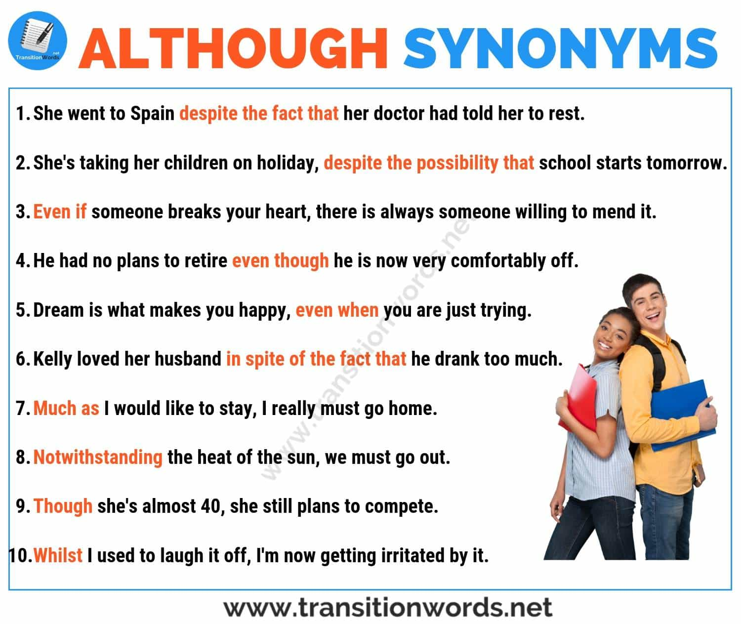 Although Synonym 18 Useful Synonyms For Although With