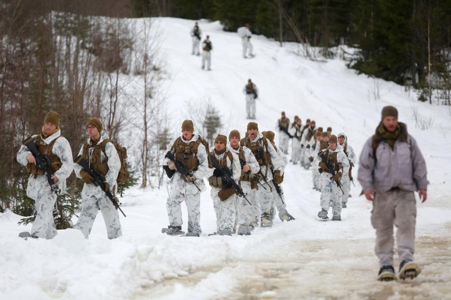 US Marines øver i Norge. Dette bildet er fra Rena 22. februar 2016. Foto: US Marines