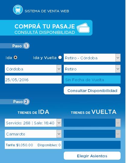 Consultar disponibilidad de pasajes para el tren Cordoba Retiro