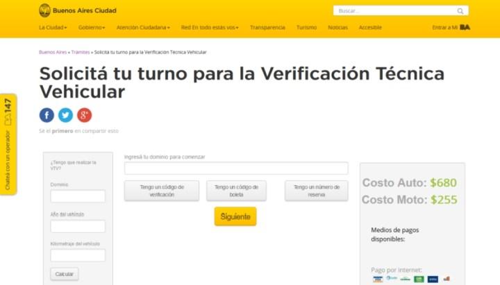 Turnos VTV CABA web
