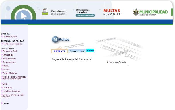 Sitio web de la Municipalidad de Córdoba. Ingreso de la patente del automotor para realizar consultas de las multas de tránsito de Córdoba capital