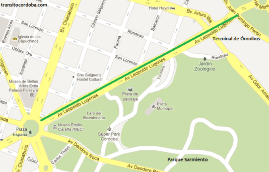 Mapa del tramo inaugurado de la bicisenda.