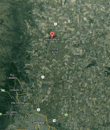 Jesus María se encuentra en el kilómetro 754 de la Ruta 9 Norte.