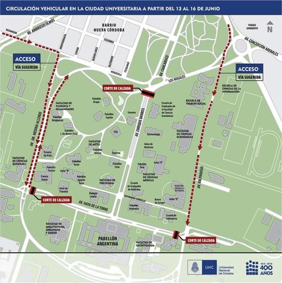 Cortes de calles y caminos alternativos en Ciudad Universitaria. (Mapa: UNC)