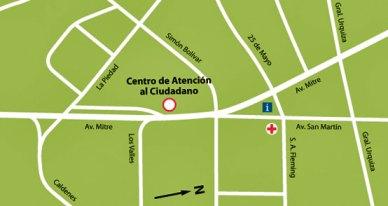 Mapa de ubicación del Centro de Atención al Ciudadano de Mina Clavero