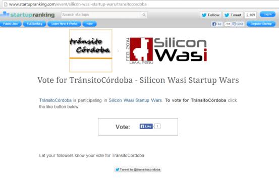 Votacion transito Cordoba Silicon Wasi Startup Wars