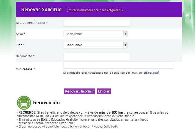 Renovar solicitud Boleto Educativo Gratuito de Cordoba