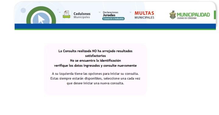 Error en el sistema municipal de Cordoba por consulta de vehiculos con nueva patente Argentina