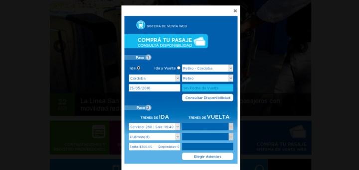 Sistema de venta web pasajes tren Cordoba Buenos Aires