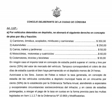 tarifario multas por estadia en el corralón municipal por multas e infracciones de tránsito