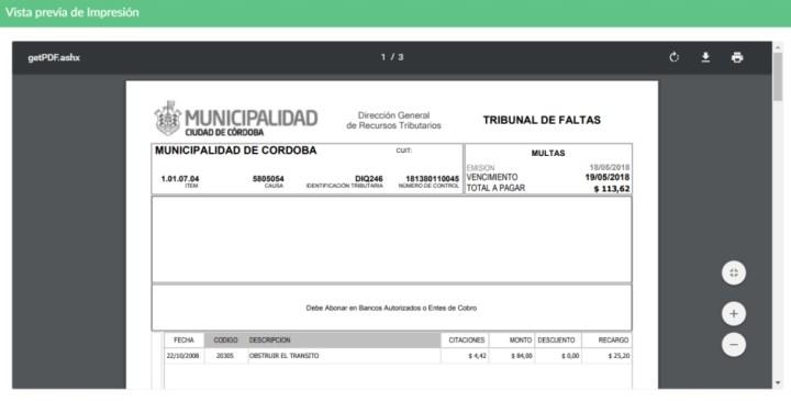 Pago Multas Municipalidad Cordoba Transito Infracciones Faltas Tribunal