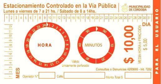 ticket oficial del estacionamiento regulado por tiempo en la ciudad de cordoba