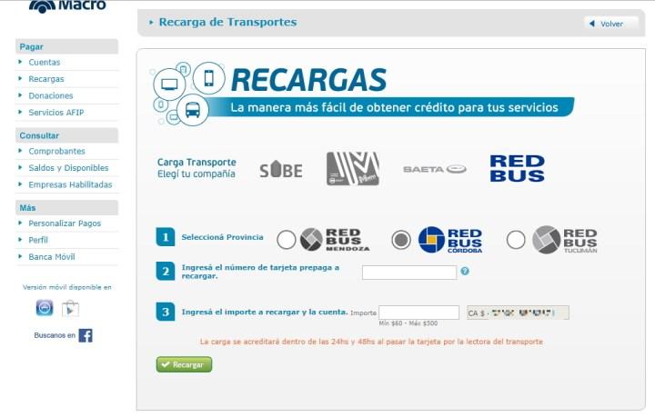 Recargar tarjeta Red Bus PagoMisCuentas