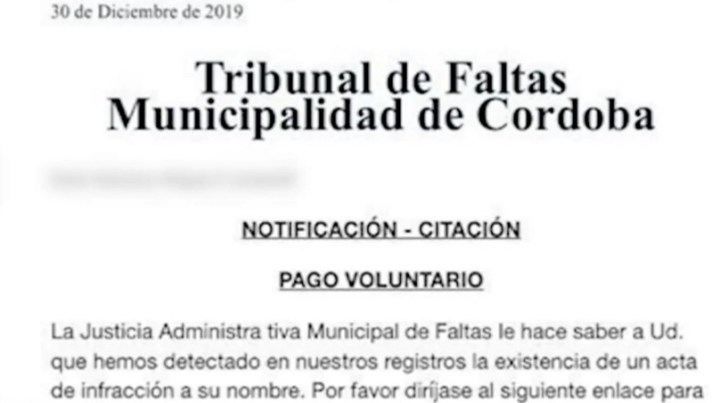 Notificacion mail multa municipalidad