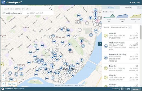 Crime Maps transitpoliceca