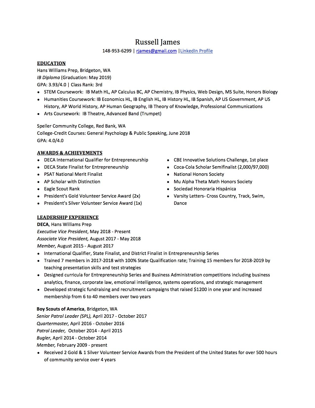 College Resume Template High School Resume How To Write The Best One Templates Included