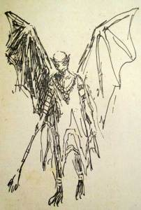 "Drawing of a ""szern"" by Marek Zulawski, taken from the 1947 edition of 'The Old Earth' by Jerzy Zulawski"