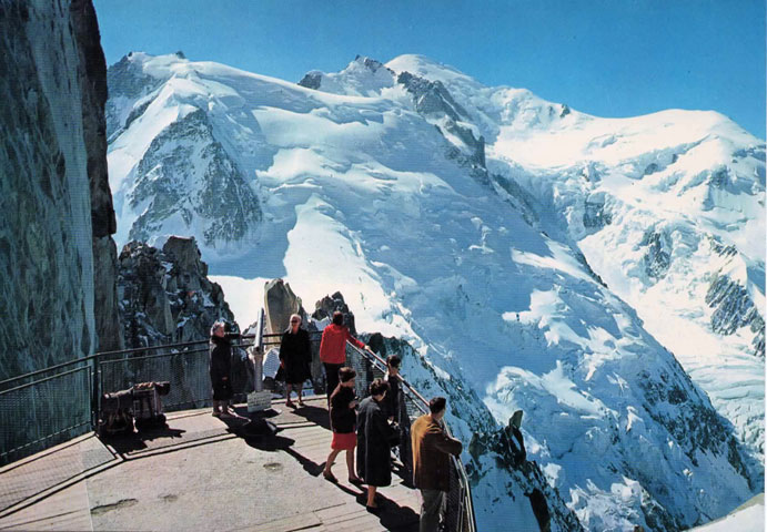 """Mt Blanc as seen from Aiguille du Midi"" - a postcard from the 1981 Chamonix trip."
