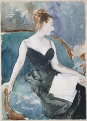 Figure study in watercolour and graphite of Virginie Amélie Avegno Gautreau by John Singer Sargent; she reclines in a long black dress looking to the right and her hair is tied up in a bun