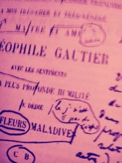 Frontispiece of Les Fleurs du Mal with Baudelaire's own handwriting