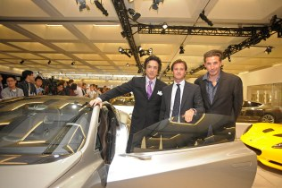 From Left to Right: Paul Stanley from rock group Kiss, Lotus CEO Dany Bahar and actor William Baldwin