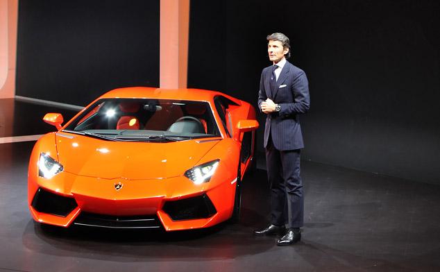 Lamborghini Aventador LP700-4 introduced by Stephan Winkelmann, President and CEO of Automobili Lamborghini