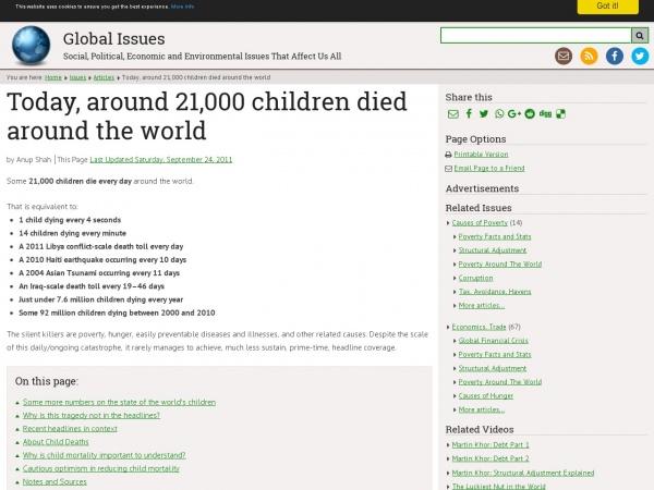Today, around 21,000 children died around the world — Global Issues