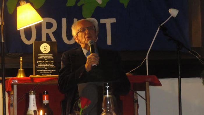 Johan Galtung's Acceptance Speech of the People's Nobel in Sweden