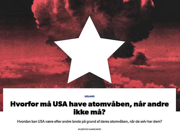 DR forklarer hvorfor USA må have atomvåben, når andre ikke må