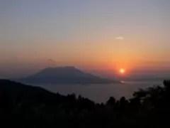 篤姫と桜島の夕日