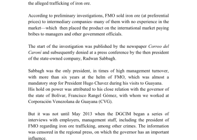 Iron Ore Trafficking at Ferrominera Orinoco