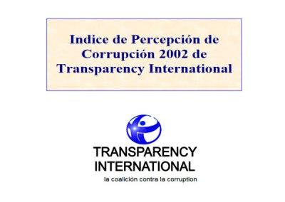 Índice de Percepción de la Corrupción (IPC): 2002