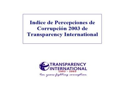 Índice de Percepción de la Corrupción (IPC): 2003