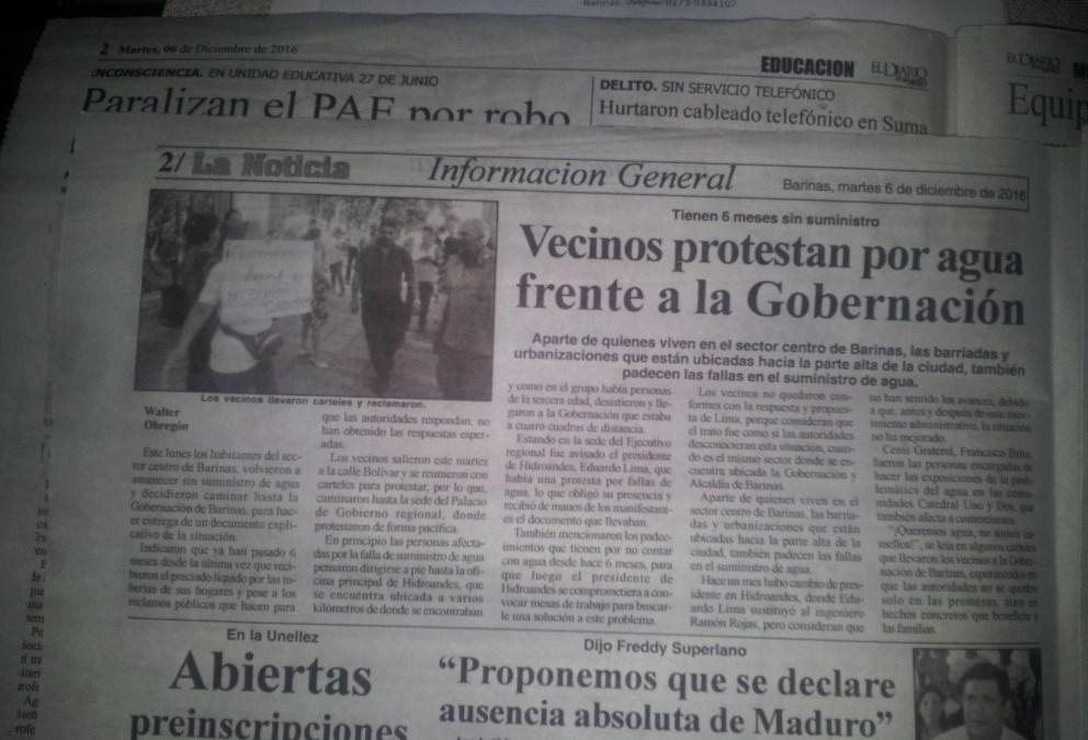Aumenta número de protestas por suministro de agua potable en Barinas