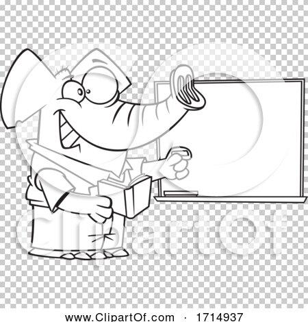 Cartoon Black and White Teacher Elephant by toonaday #1714937