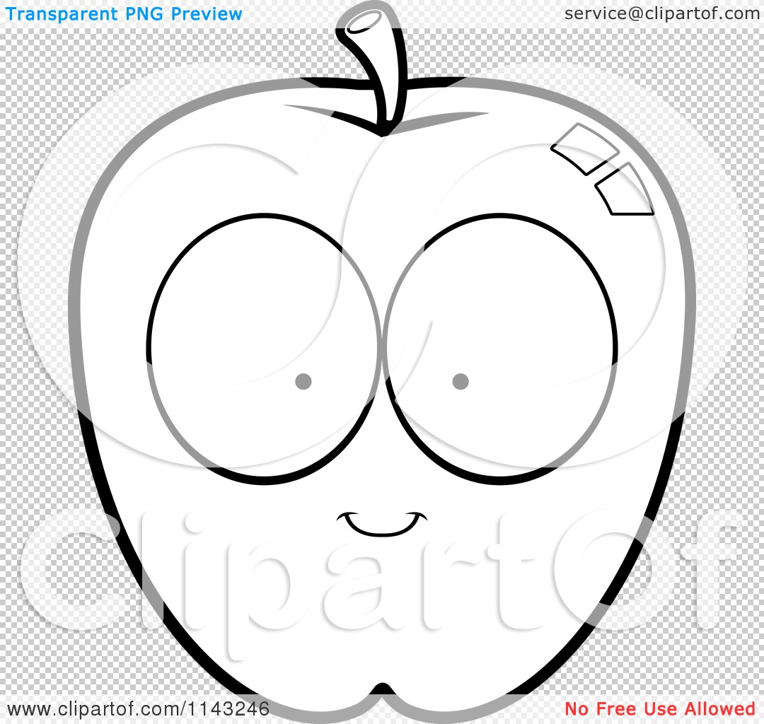 Cartoon Clipart Of A Black And White Apple Character