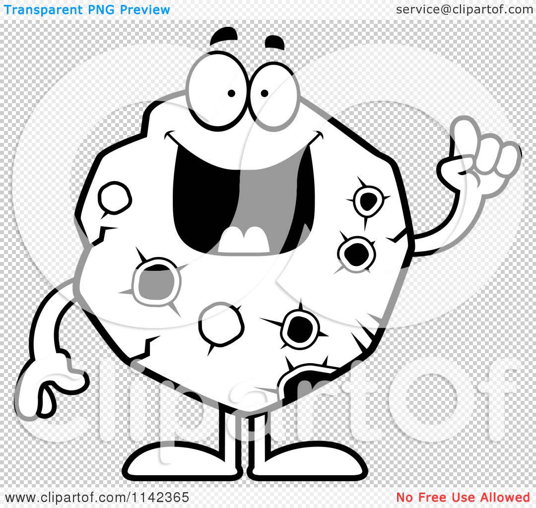 Cartoon Clipart Of A Black And White Asteroid With An Idea