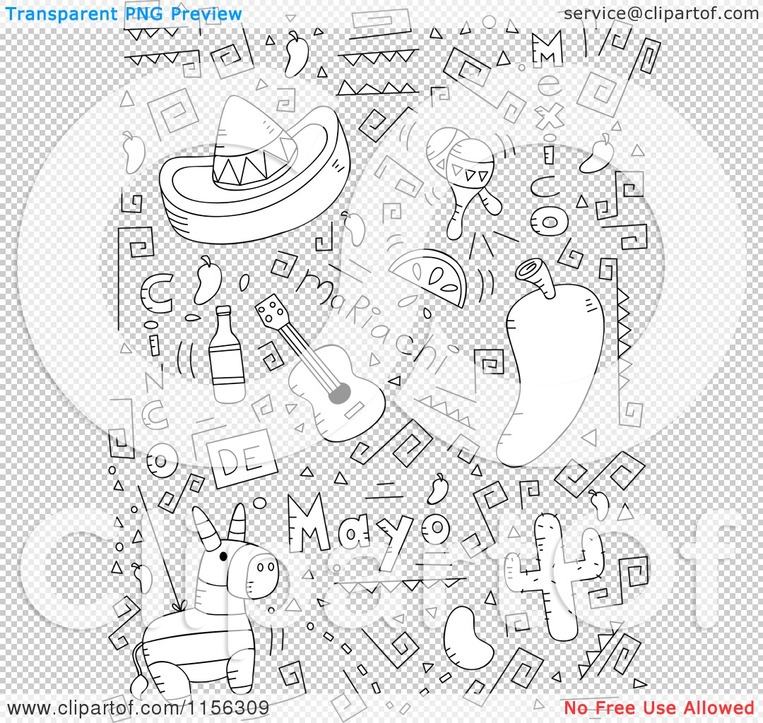 Cartoon Clipart Of A Black And White Collage Of Cinco De