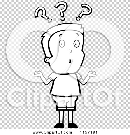 Cartoon Clipart Of A Black And White Confused Boy