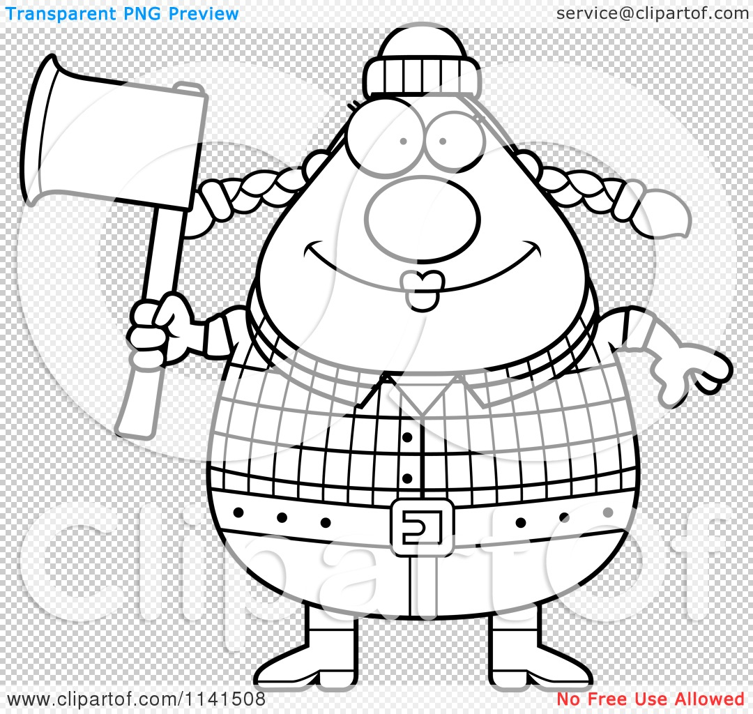 Cartoon Clipart Of A Black And White Happy Chubby Female