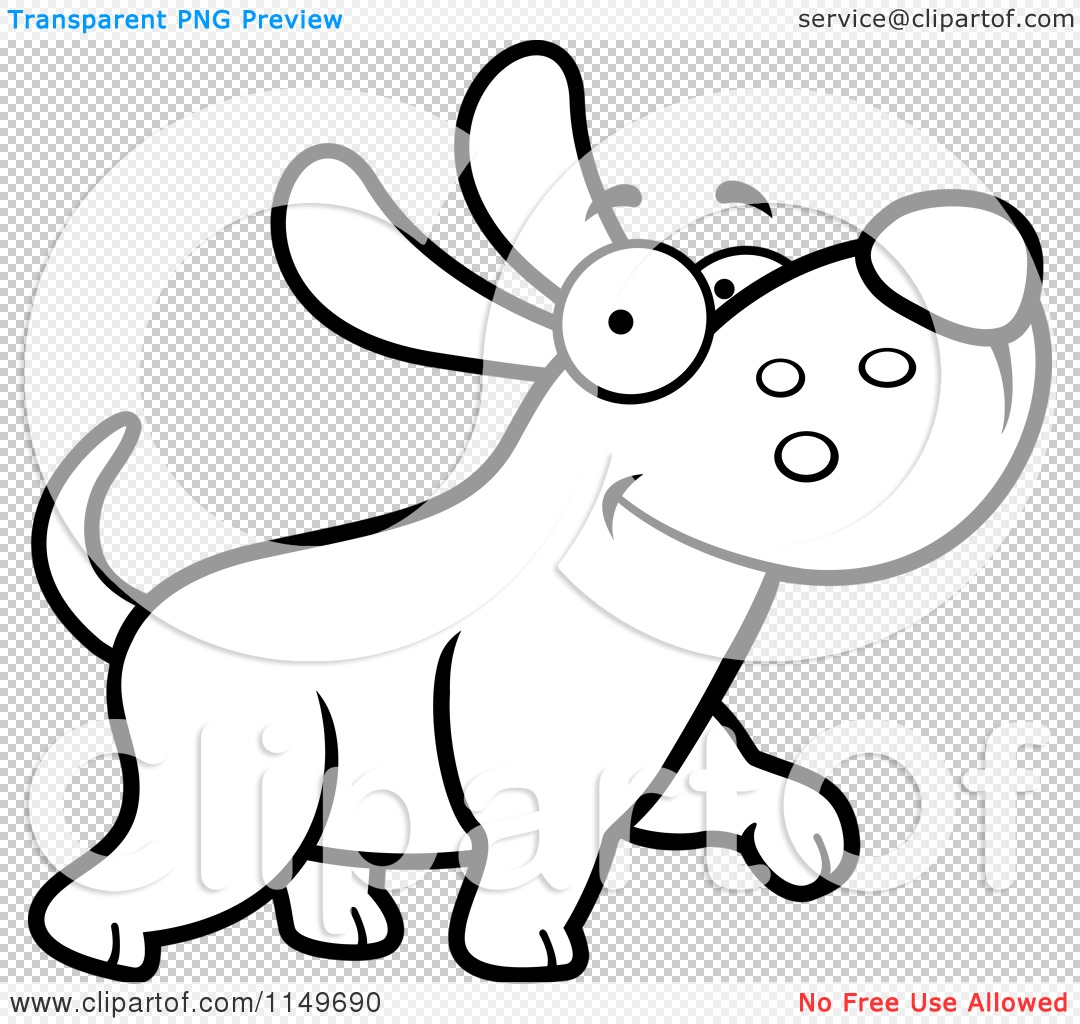 Cartoon Clipart Of A Black And White Happy Max Dog Character Walking