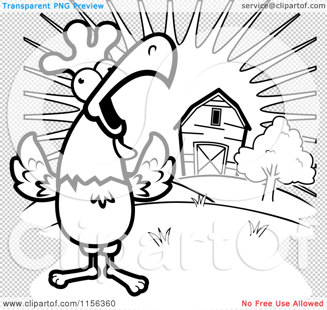 Cartoon Clipart Of A Black And White Happy Rooster Crowing