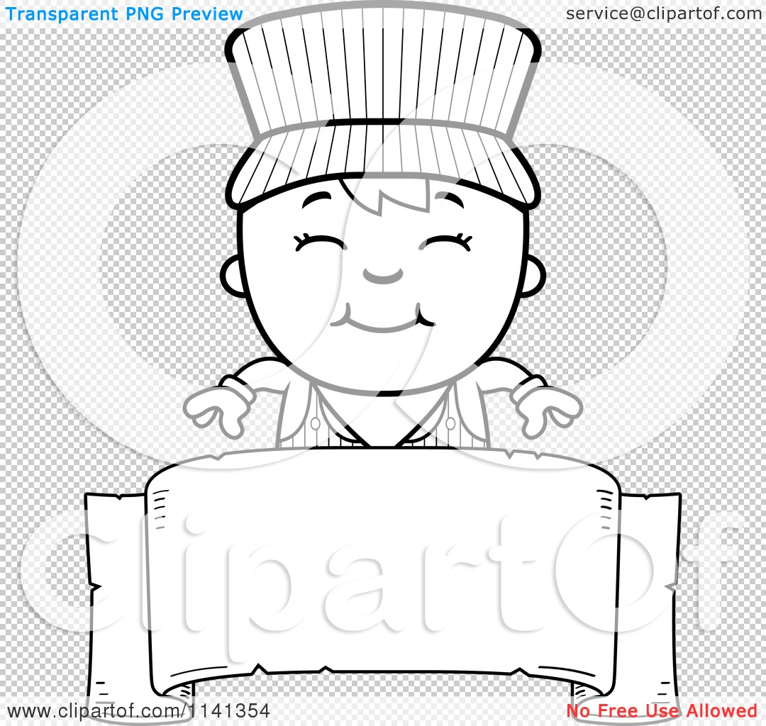 Cartoon Clipart Of A Black And White Happy Train Engineer