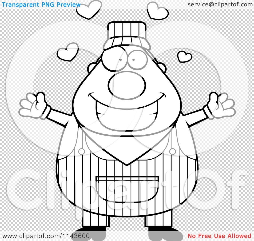 Cartoon Clipart Of A Black And White Loving Train Engineer