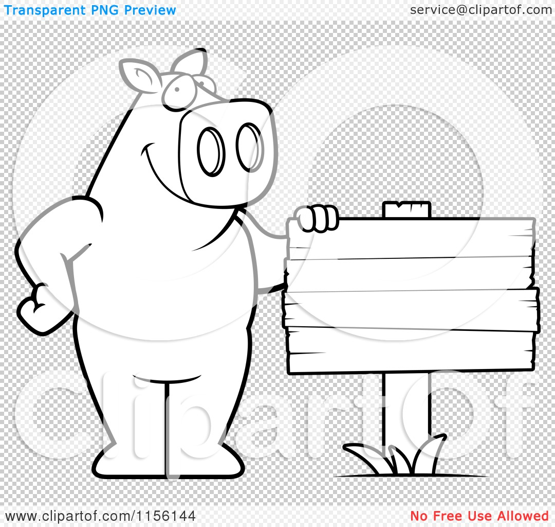 Cartoon Clipart Of A Black And White Pig Standing Beside a
